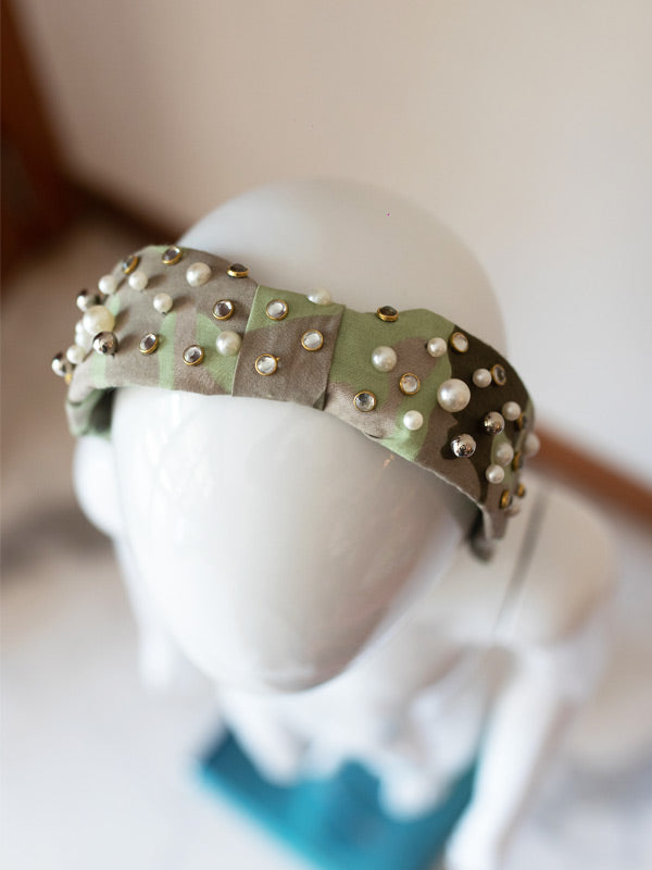 Knotty Hairband in Embellished Camouflage