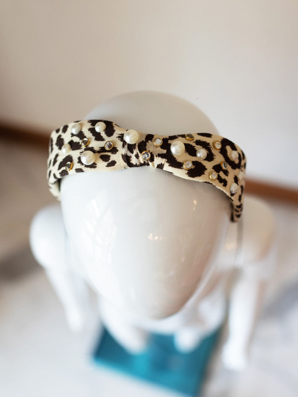 Knotty Hairband in Embellished Leopard