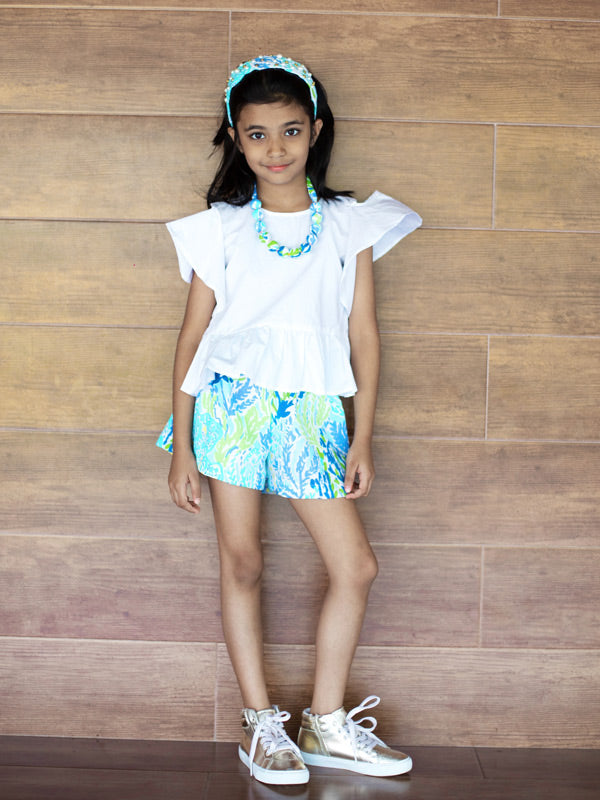 Kelsey Shorts in Blue Tropic