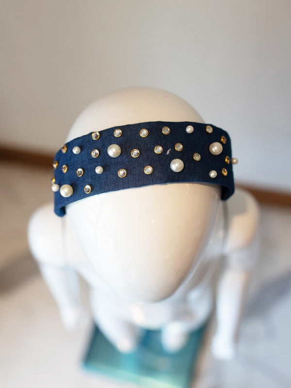 Trixie Hairband in Embellished Indigo Denim