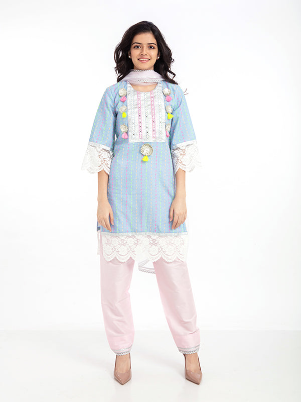 CANDY KURTA SET IN BLUE DOTTY