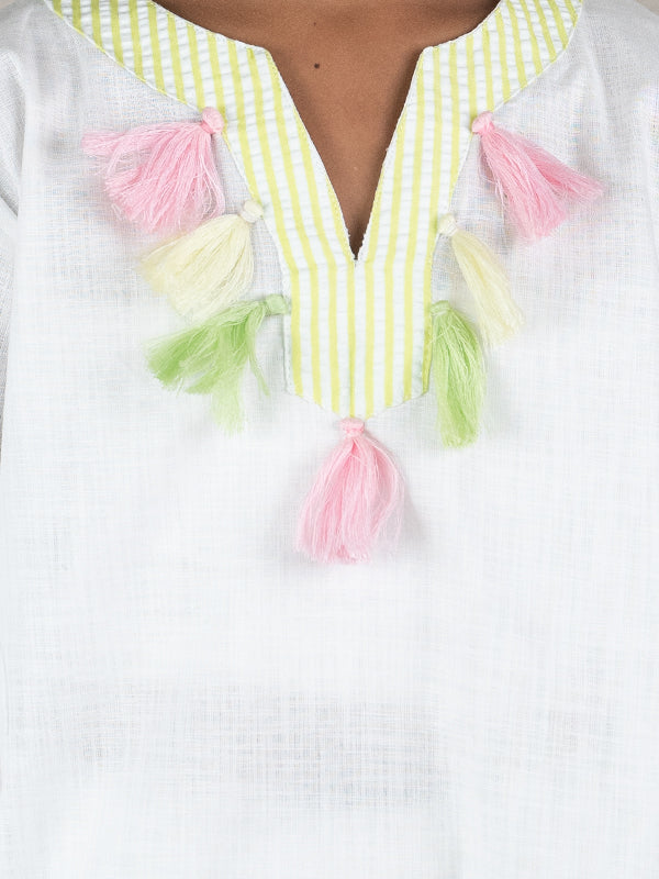 MARI TUNIC IN WHITE LINEN WITH TASSEL TRIM