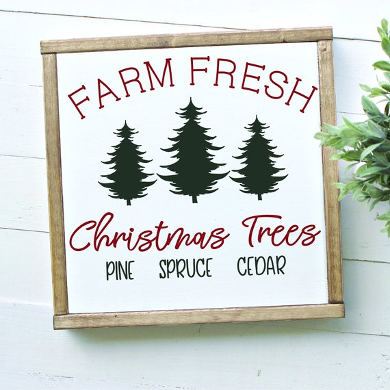 Farm Fresh Christmas Trees Script Framed Wood SIgn