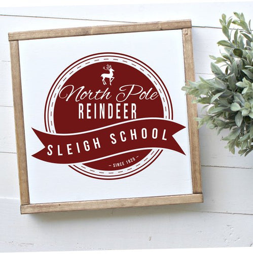 Sleigh School Framed Wood Sign