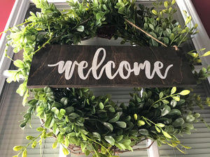 Boxwood Wreath with Wood Welcome Door Hanger