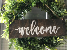 Load image into Gallery viewer, Boxwood Wreath with Wood Welcome Door Hanger