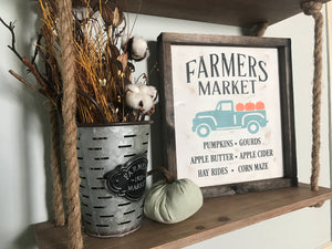 Farmers Market Pumpkin Framed Wood Sign