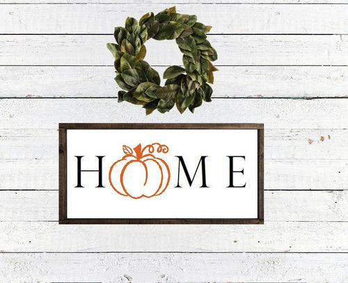 HOME With Pumpkin - Framed Wood Sign