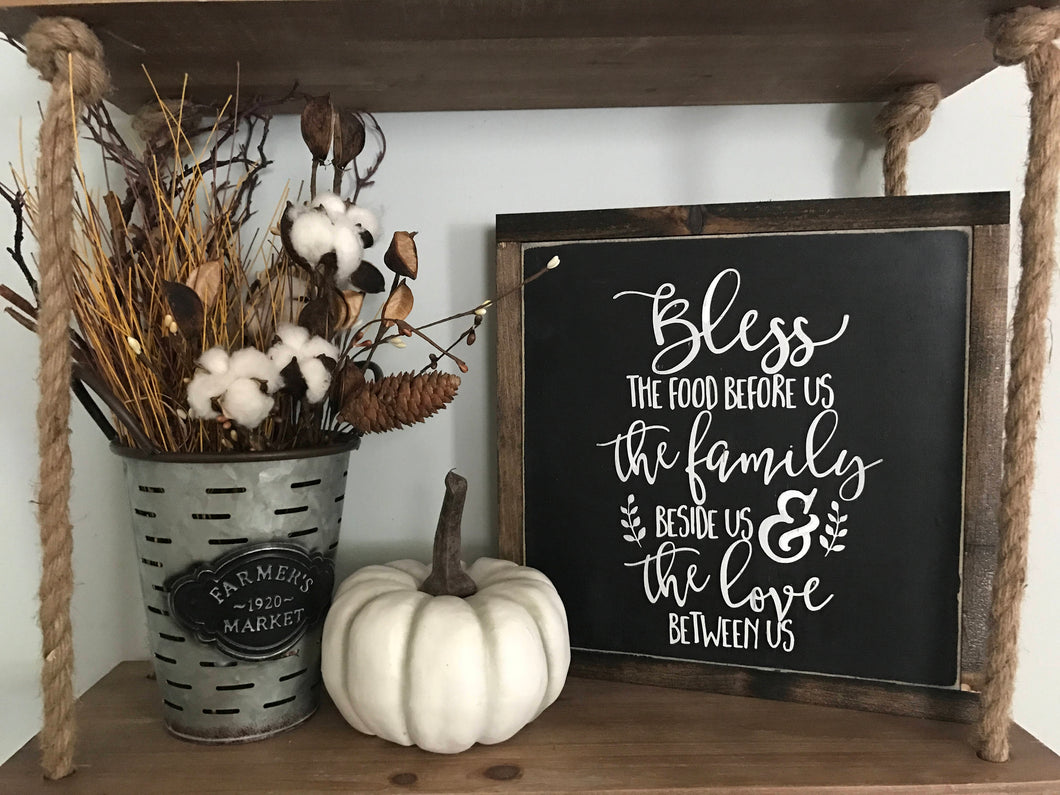 Bless The Food Before Us Framed Wood Sign