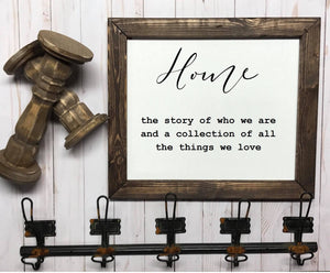 Home Definition Framed Wood Sign