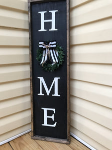 Framed HOME Sign with Wreath