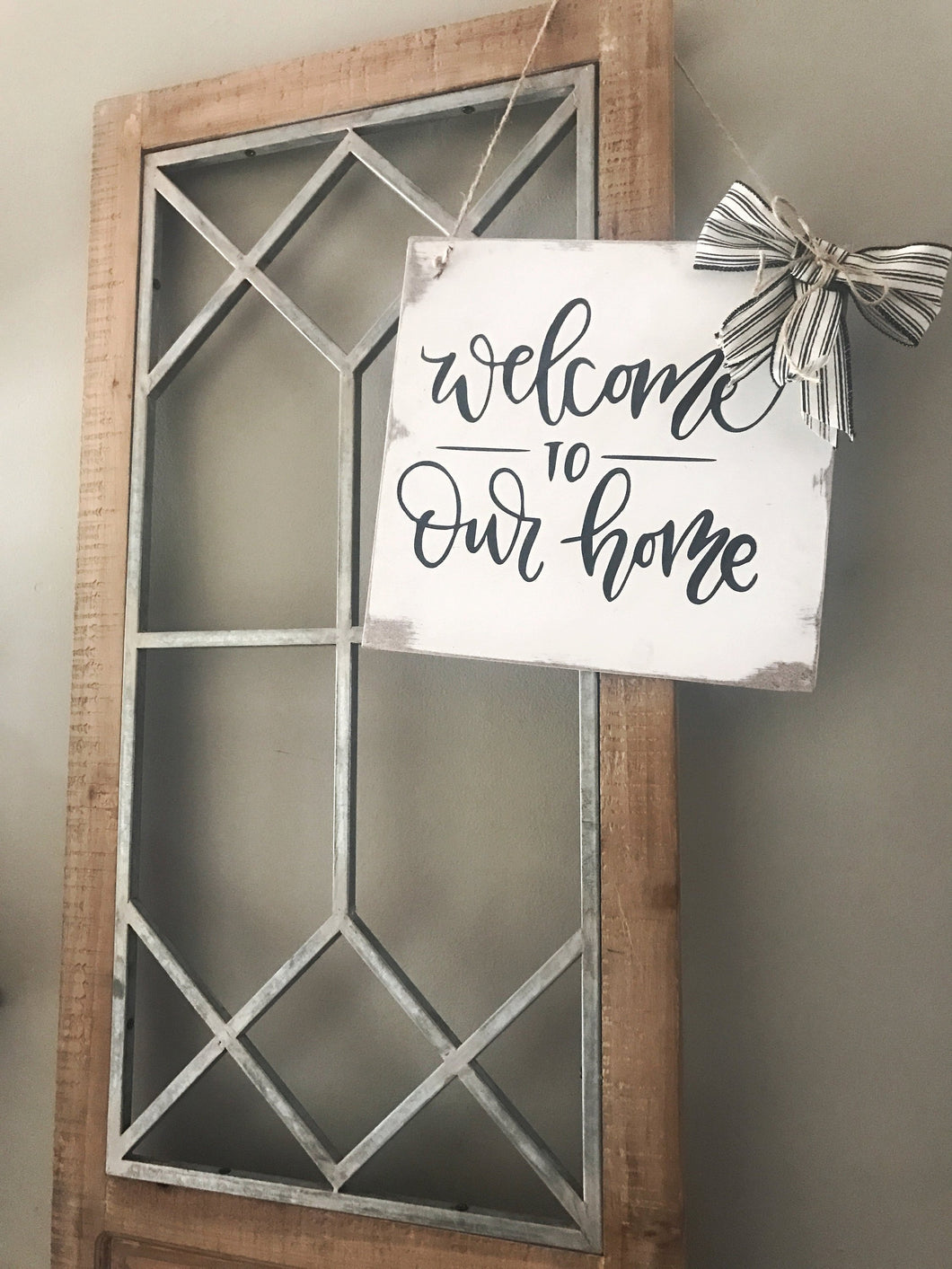 Welcome To Our Home Sign-Sign With Ribbon
