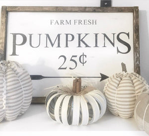 Farm Fresh Pumpkins 25 Cents Framed Wood Sign