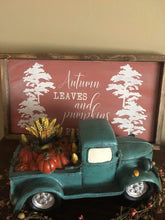 Load image into Gallery viewer, Autumn Leaves and Pumpkins Please Framed Wood Sign