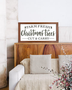 Farm Fresh Christmas Trees Framed Wood Sign