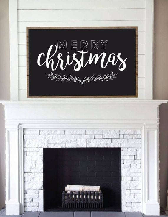 Merry Christmas Chalkboard Style Framed Wood Sign – Marshall Made ...