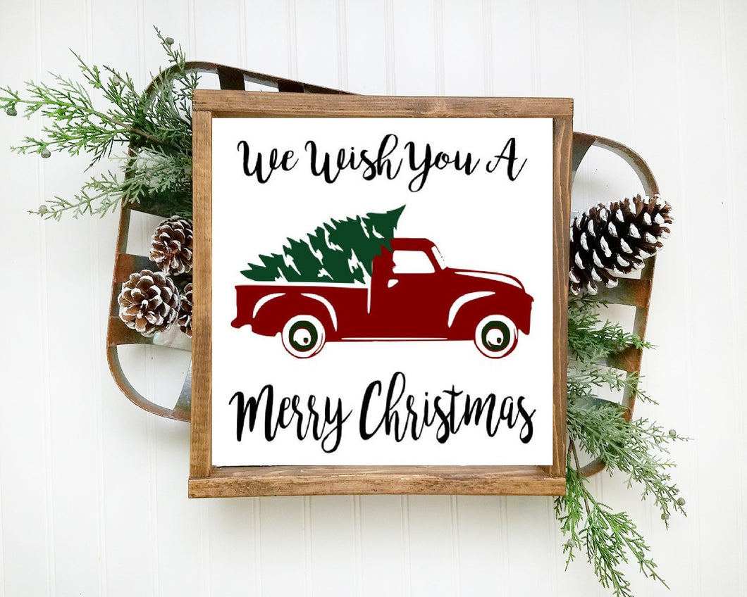 We Wish You A Merry Christmas Framed Wood Sign