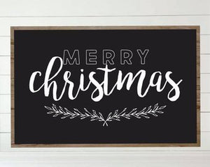 Merry Christmas Chalkboard Style Framed Wood Sign