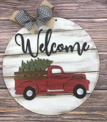 Vintage Truck Round Door Hanger - Interchangeable with 5 shapes