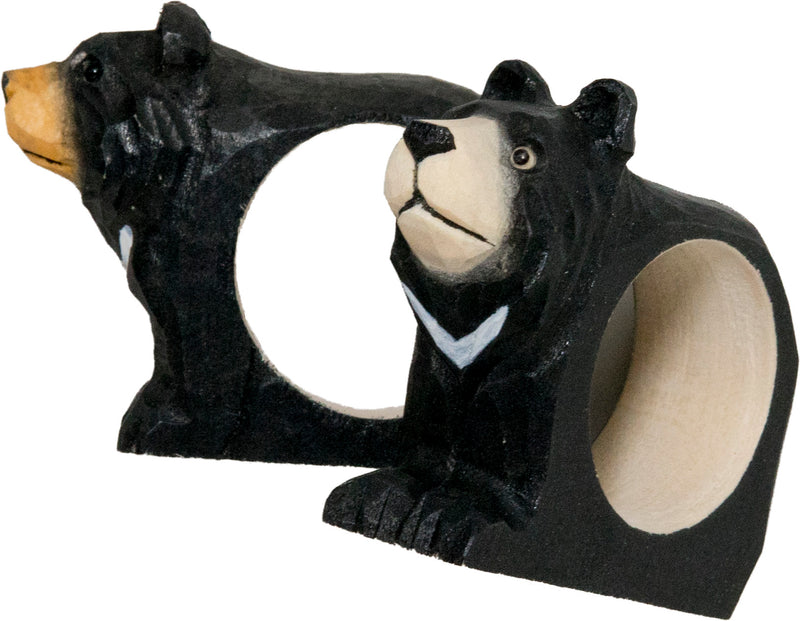 Wooden moon bear napkin rings (set of two)