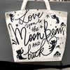 """Love you to the moon bears and back"" tote bag"