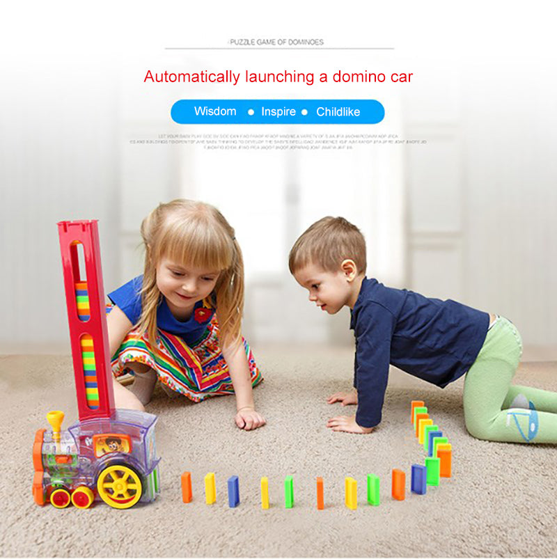 (BUY 2 FREE SHIPPING)Children's educational toys automatically start dominoes Small train