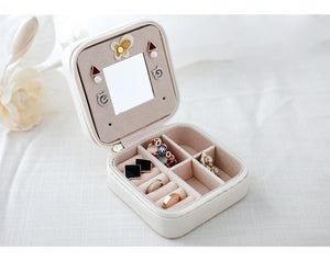 Small Faux Leather Travel Jewelry Box
