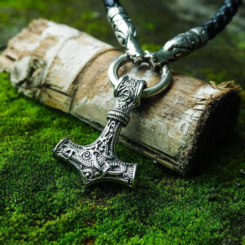 HOT SALE! Thor's Hammer Pendant Leather Necklace