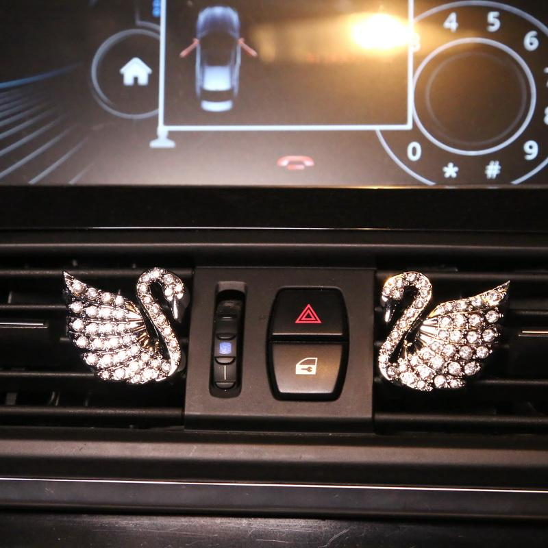 【Hot Sale Today! Up to 50% Discount!】Car air conditioning vents diamond swan perfume holder