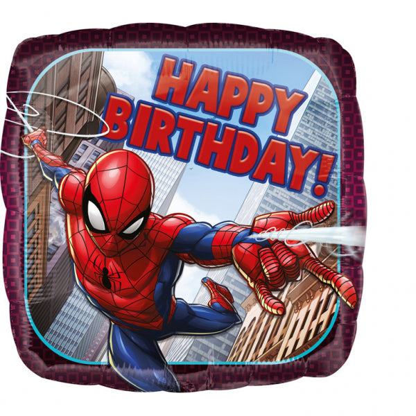 Spiderman folieballon med happy birthday