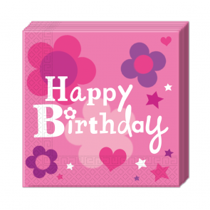 Happy Birthday Girl servietter 33x33 cm