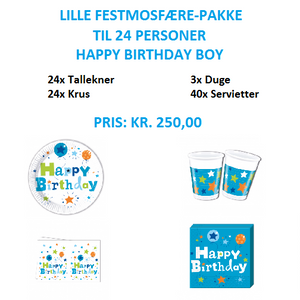 Lille temapakke med Happy Birthday Boy til 24 personer