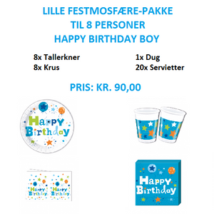 Lille temapakke med Happy Birthday Boy til 8 personer