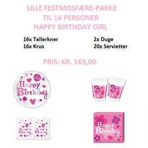 Happy Birthday Girl Festpakke til 16 personer (lille)