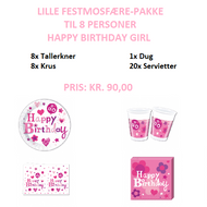 Happy Birthday Girl Festpakke til 8 personer (lille)