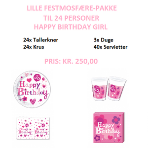 Lille temapakke med Happy Birthday Girl til 24 personer