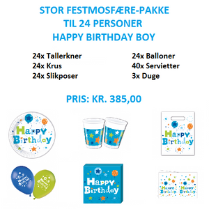 Stor temapakke med Happy Birthday Boy til 24 personer