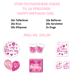 Happy Birthday Girl Festpakke til 16 personer (stor)