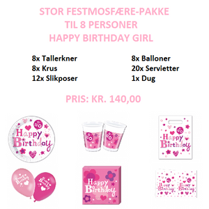 Stor temapakke med Happy Birthday Girl til 8 personer