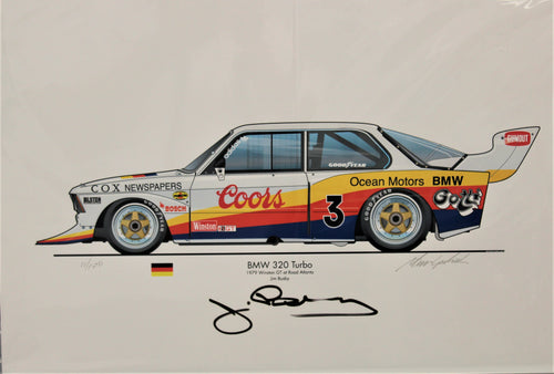 BMW 320 Turbo, Autographed, numbered Print