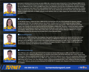 Signature Card - Turner Motorsport Bret Curtis Ashley Freiberg Jens Klingmann Marco Wittmann #96 Signature Card