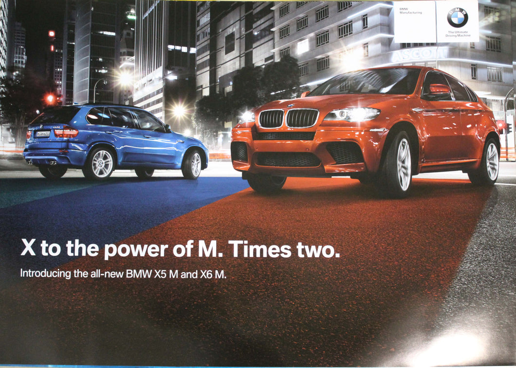 Poster - X to the power of M. Times two. Introducing the new X5 M and X6 M.