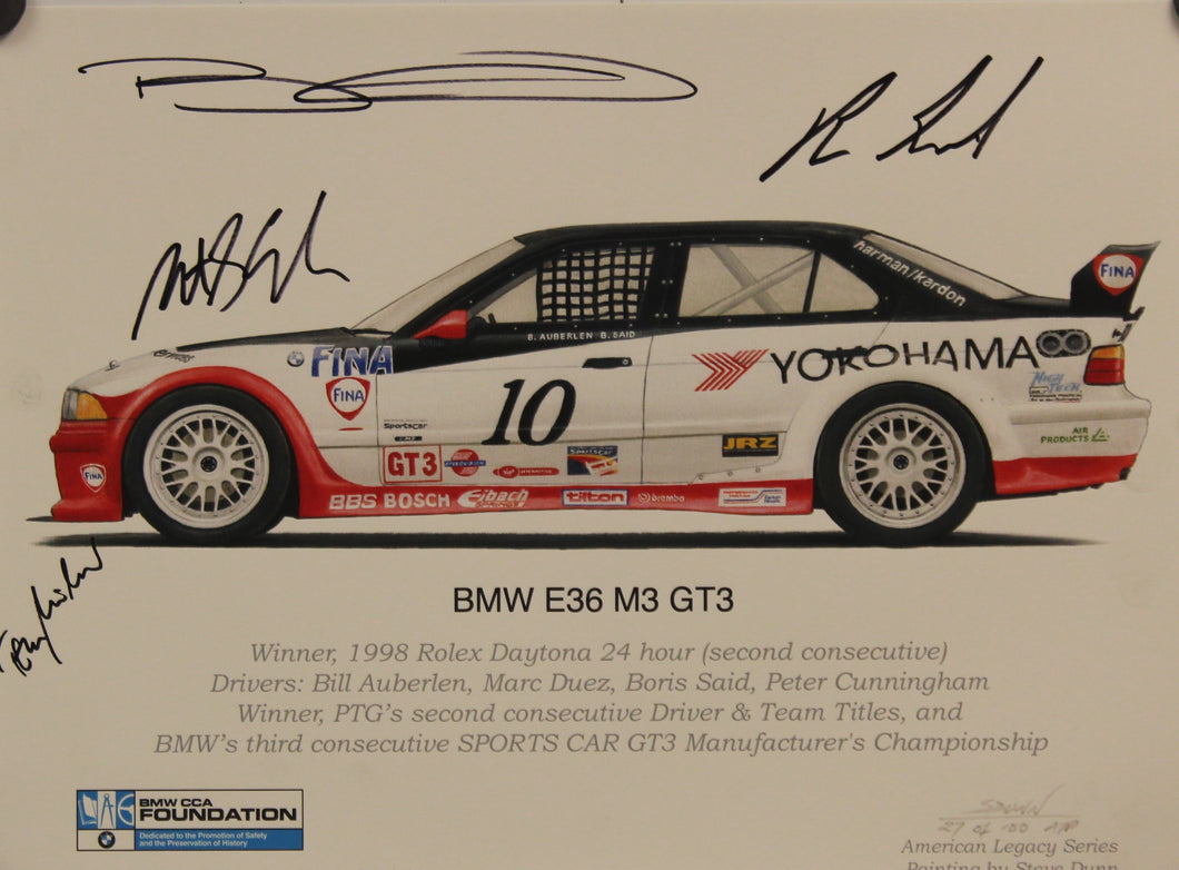 Autographed Print - BMW e36 M3 GT3 print signed by Bill Auberlen, Boris Said, Peter Cunningham, and Tom Milner at the 2010 Petit LeMans race