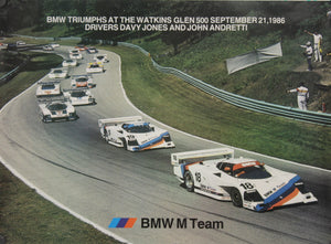 Poster - BMW Triumphs at Watkins Glen 500 September 21, 1986 Drivers Davey Jones and John Andretti