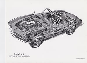 BMW 507 cutaway drawing by Shin Yoshikawa