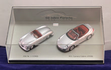 Load image into Gallery viewer, 1:43 Silver Porsche 1948 No. 1 Type 356 Roadster & 2008 911 Carrera Cabrio (P Museum)