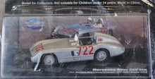 Load image into Gallery viewer, 1:43 Silver Mercedes-Benz 1955 300 SLR #722 - Mille Miglia with Magazine