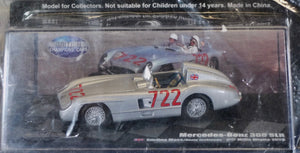 1:43 Silver Mercedes-Benz 1955 300 SLR #722 - Mille Miglia with Magazine