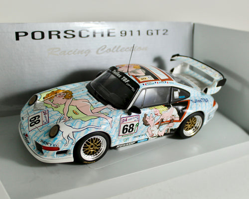 1:18 White Porsche 1998 911 GT2 LeMans #68 Naked Lady