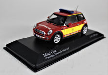 "Load image into Gallery viewer, Minichamps 1:43 Mini One 2001, ""Frelwillge Feuerwehr Munchen""  Red/Yellow, 1 of 1,008."